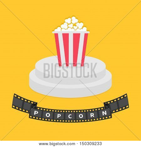 Round stage podium. Popcorn red white box. Film strip ribbon. Pedestal for display. 3d realistic platform design. Isolated. Yellow background. Flat Vector illustration