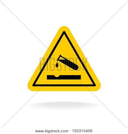 Warning Acid Sign. Triangle Yellow Chemistry Sticker. Test Tube With Acid Drop.