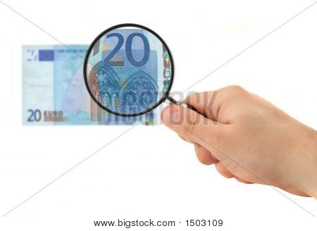 Hand Magnifying 20 Euro Note