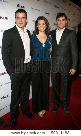 Balthazar Getty, Joaquin Phoenix and Jennifer Howell at the Art of Elysium and Russel Young 'fame, shame and the realm of possibility' held at the Minotti in West Hollywood, USA on November 30, 2005.