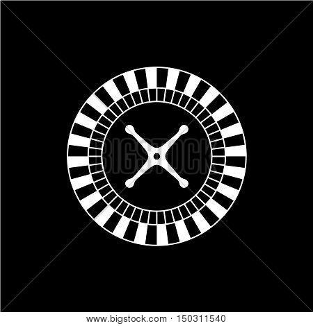 Roulette casino wheel icon. One color roulette game wheel top view silhouette.