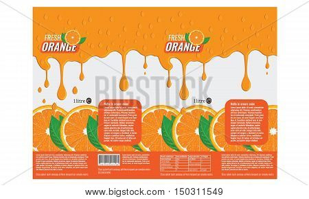 Branding package design for orange juice with flat color design. Ready Template Packaging Design Orange Vector. Orange leaves, Orange slice with realistic water drops