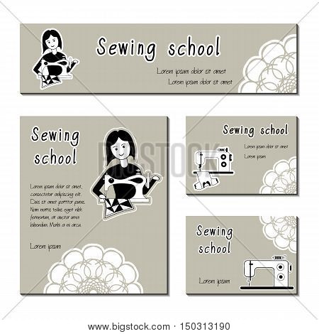 Black-white vector cards template for sewing school tailor shop shop sewing machines. Flat icon sewing girl seamstress. Set of template for business card banner poster magazine presentation logo.