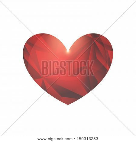 Abstract Crystal Heart With Twinkle On A White Background