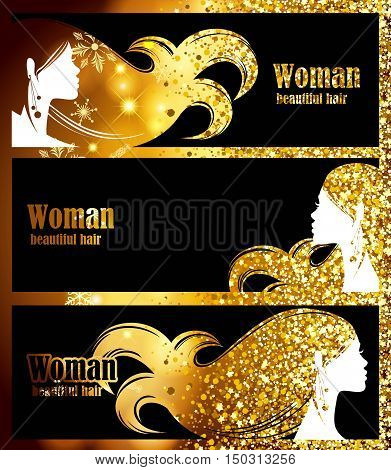 Black Banners, golden background bright sparkles, golden glow, beautiful feminine silhouette stylish hair. template design decoration. Vector illustration.