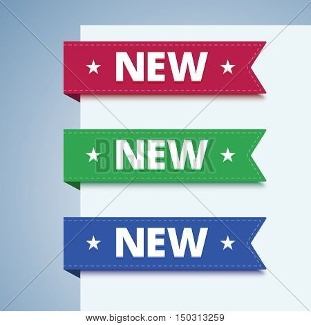 New paper label in flat style. Set of paper bookmarks in red, green and blue colors. Vector illustration.