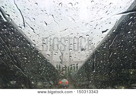 Typhoon in thailand ,weather, Driving under the rain weather