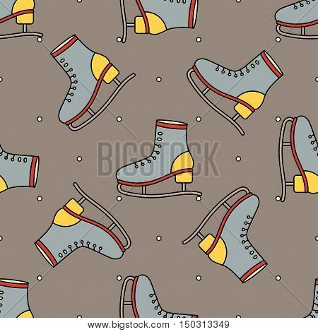Vector seamless pattern with skates for Christmas holidays and New Year 2017. Vector illustration, figure skating theme