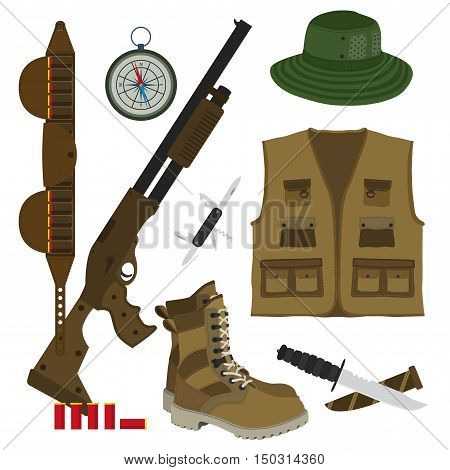 Hunter set in flat style. Camouflage hat gun with shells bandolier knife compass army boots and hunter vest. Vector illustration.