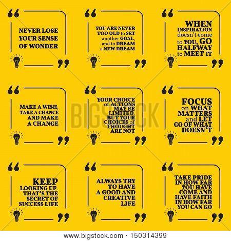 Set Of Motivational Quotes About Dreams, Goals, Choices, Action, Achievement, Focus, Pride, Success