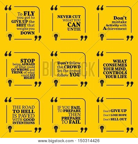 Set Of Motivational Warning Quotes About Responsibility, Activity, Crowd, Failure, Giving Up, Losing