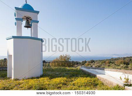 Church belfry and sea in Kos island Greece