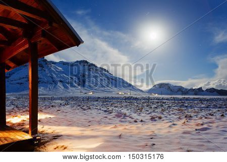 Mountains  at the moonlight in  winter.  South Iceland.