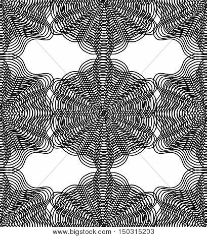 Vector monochrome stripy illusive endless pattern art continuous geometric background with graphic lines and geometric figures.