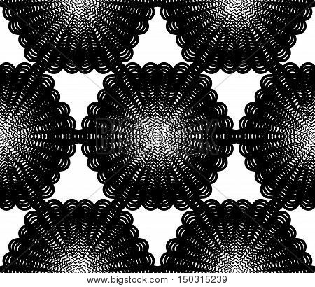 Ornate vector monochrome abstract background with overlapping black lines. Symmetric decorative graphical pattern geometric stripy illustration.