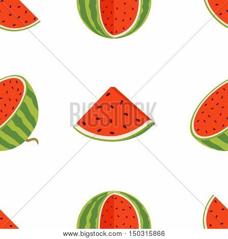 Pattern of juicy whole watermelons and slices in flat vector style. Watermelon illustration.
