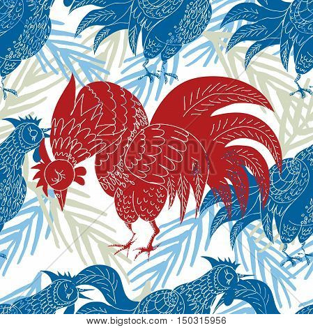 Hand drawn seamless New Year pattern. Vector illustration symbol of the year 2017 on the Chinese calendar - fire cock.