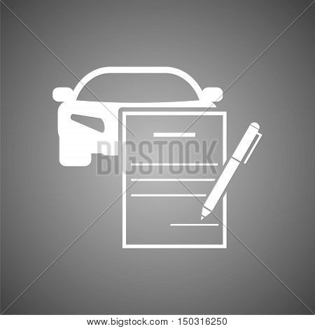 White Car purchasing contract  on gray background