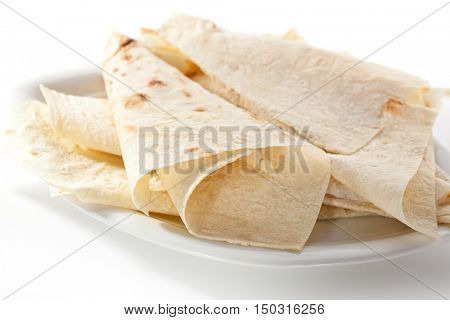 Lavash. Thin Armenian bread. Wheat flatbread