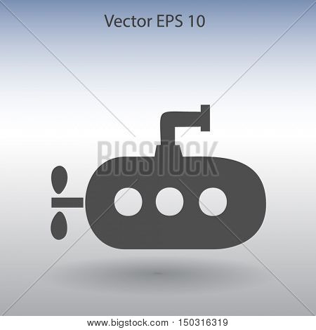 Flat submarine icon.