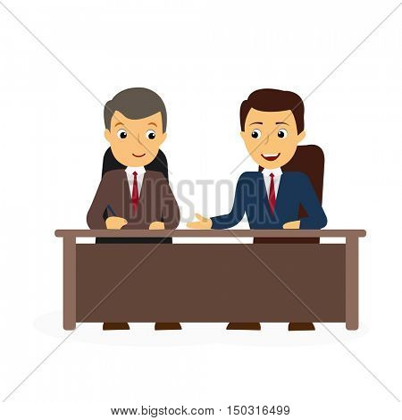 Leading at table. Analysts discuss. Presenters of news for work.  Business meeting. People in chairs at desk talking, brainstorming. Flat style vector illustration isolated on white background