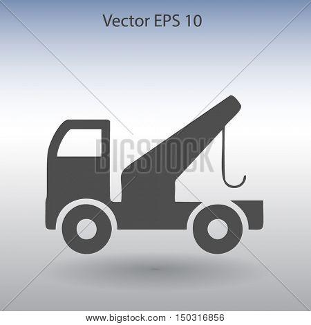 Flat evacuator car  icon. Vector