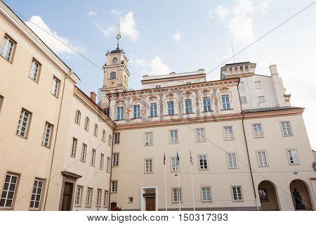 Vilnius Lithuania - September 10, 2016: View of Vilnius university from University street