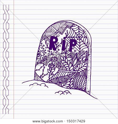 Hand drawn grave in doodle style on notebook page.