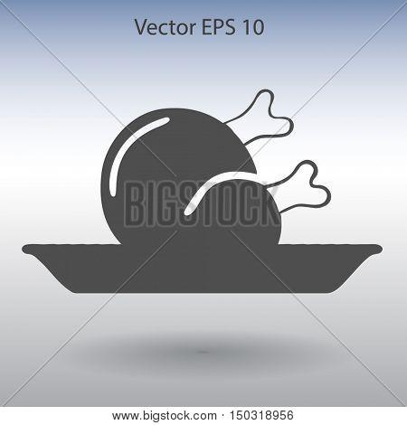 Flat delicious chicken icon. Vector