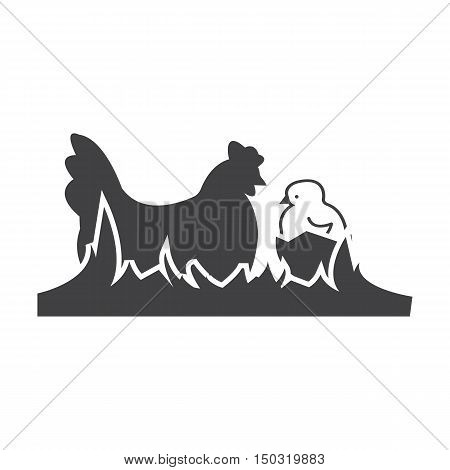 hen , chick black simple icon on white background for web design