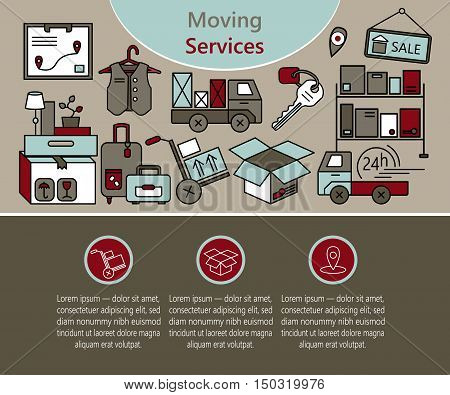 Vector thin line concept of delivery services, warehouse logistic, moving home and moving house. Modern thin line style illustration for web template and print materials.