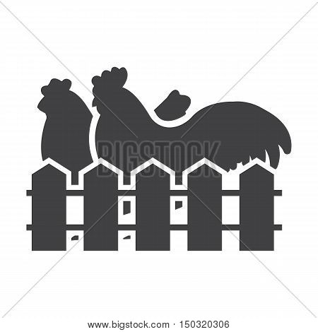 hen, rooster black simple icon on white background for web design