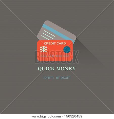 Vector Illustration of flat style credit card icon with long shadow. Banking logo. Quick money.