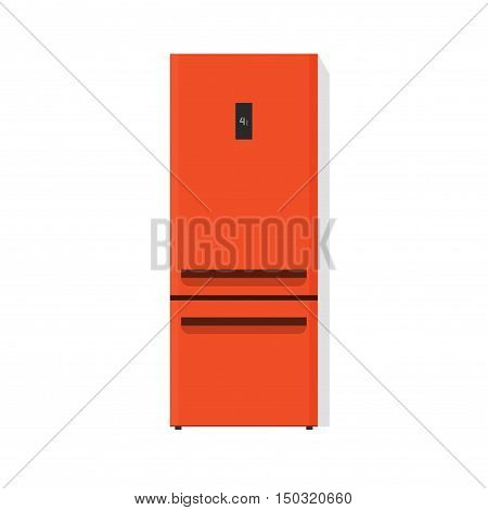 Orange fridge vector illustration isolated on white background, flat cartoon kitchen freezer with closed door