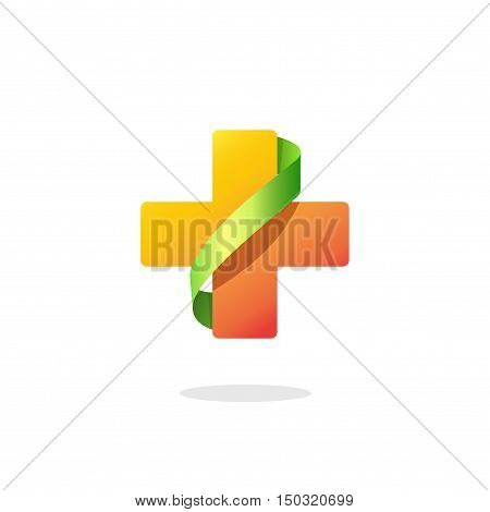 Medical cross vector logo isolated on white background, orange pharmacy symbol with green ribbon, creative clinic brand sign, modern design