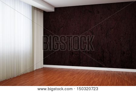 Empty room is newly renovated. In the interior there are blinds and baseboards. 3d illustration