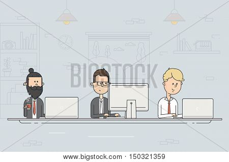 Coworking center. Business meeting. Team working. People working at the computers in the open office. Flat design vector illustration.