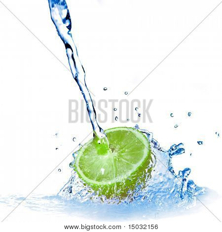 water drops on lemon isolated on white