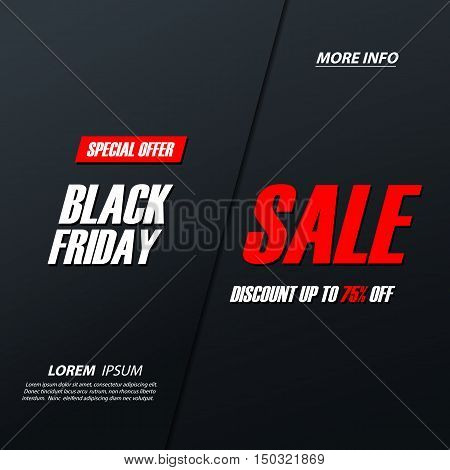 Black Friday Sale. Special offer banner, discount up to 75% off. Banner for business, promotion and advertising. Vector illustration.