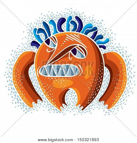 Character Monster Vector Flat Illustration, Angry Orange Mutant. Drawing Of Weird Beast, Emotional E
