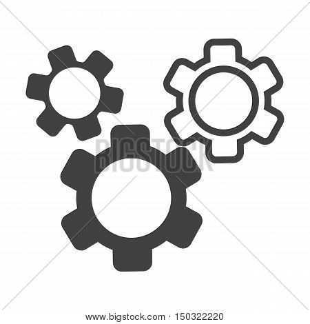 gears black simple icon on white background for web design