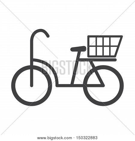 bicycle black simple icon on white background for web design