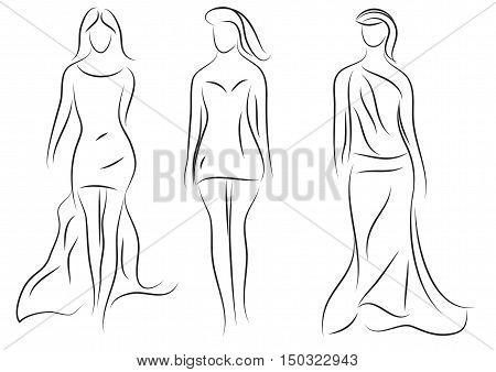 Fashion models,  sketch, beautiful sexy women silhouette