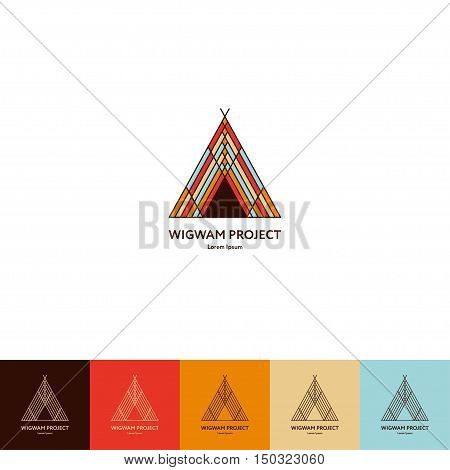Set of wigwam logos. Colorful and line style. Indian teepee with ornamental elements. Boho elements. Vector illustration