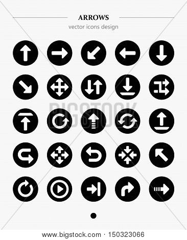 25 arrow sign icon set. Modern simple pictogram minimal, flat style. Vector illustration web internet design elements