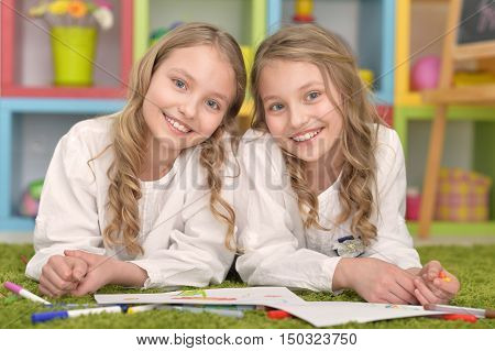 portrait of Cute girls  on lesson of art