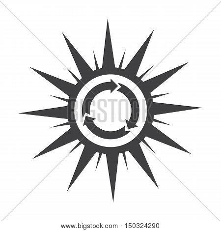sun, black simple icon on white background for web design