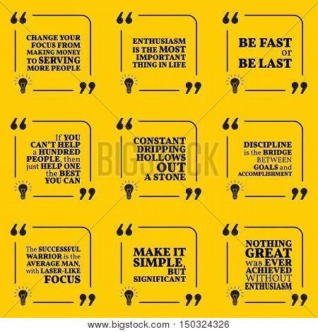 Set Of Motivational Quotes About Serving, Enthusiasm, Action, Helping, Discipline And Success. Simpl