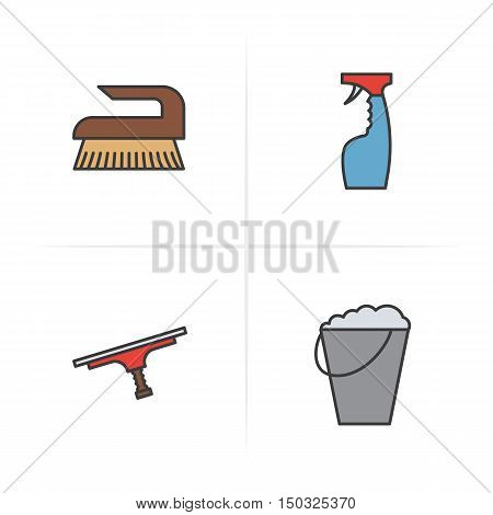 Cleaning items and tools color icons set. Spray, brush, tool for cleaning windows, bucket with foam. Logo concepts. Vector isolated illustration.