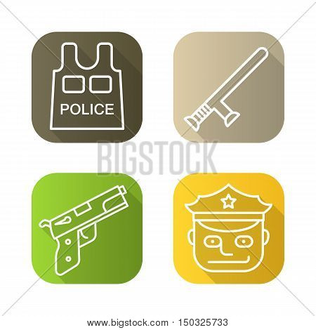 Police flat linear long shadow icons set. Gun, police officer, bulletproof vest, baton. Vector line symbols